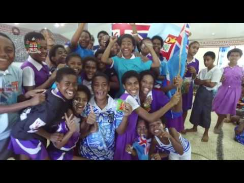 Fijian Villagers cheer on Olympic Rugby 7s Gold Medallist.