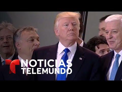 Trump le da un empujón al Primer Ministro de Montenegro | Noticias | Noticias Telemundo