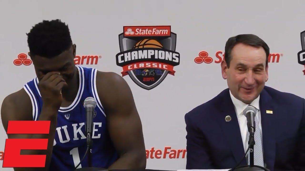 Zion Williamson R J Barrett And Coach K Talk Huge Win Vs Kentucky Cbb Sound