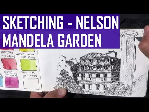 Urban Sketching in Nelson Mandela Garden, Paris