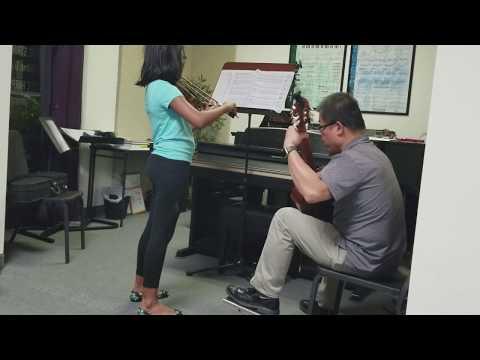 spanish-romance-duet---ms.-keys-&-strings-on-violin-with-teacher-on-guitar