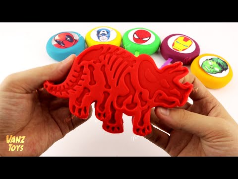 Vanz Toys Smiley Lollipop Play Doh Surprise Marvel Avengers Toys with Dinosaur Fossil Cookie Cutters