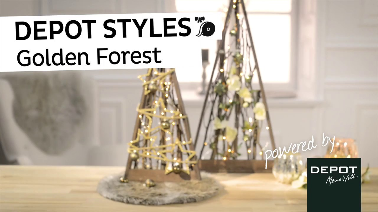 depot styles golden forest weihnachtsdeko mit lichterkette youtube. Black Bedroom Furniture Sets. Home Design Ideas