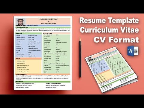 MS Word: Create Professional Curriculum Vitae (CV) Download | Resume Template Design Word 2019 AR