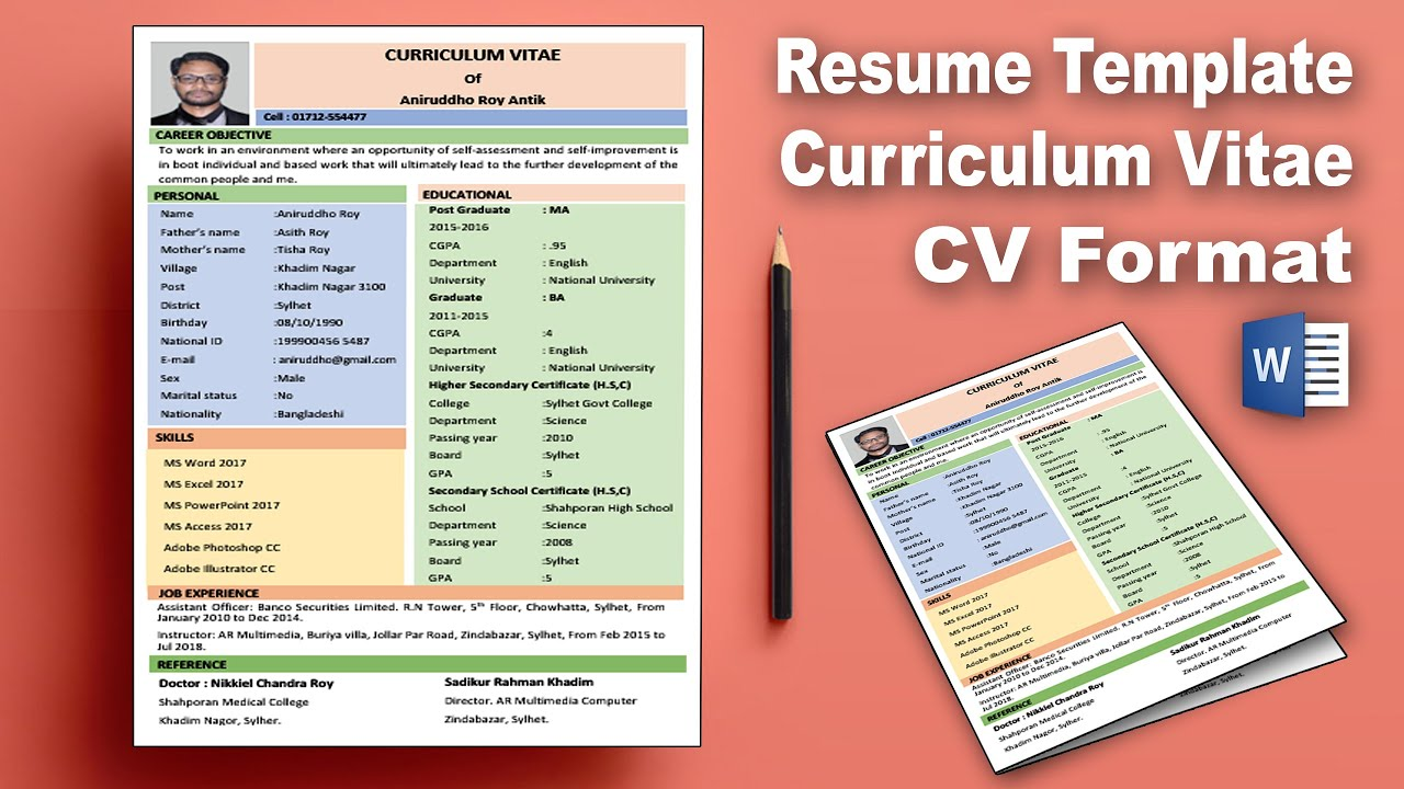 Ms Word Create Professional Curriculum Vitae Cv Download
