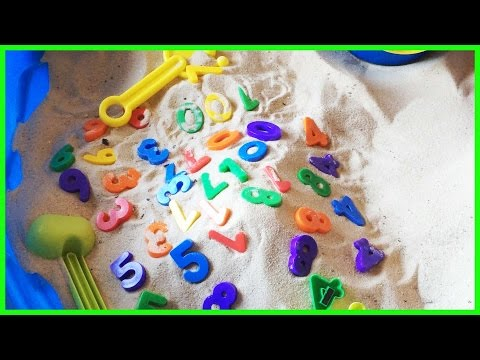 Learning Numbers 0-9 with sand filtering game surprise bucket