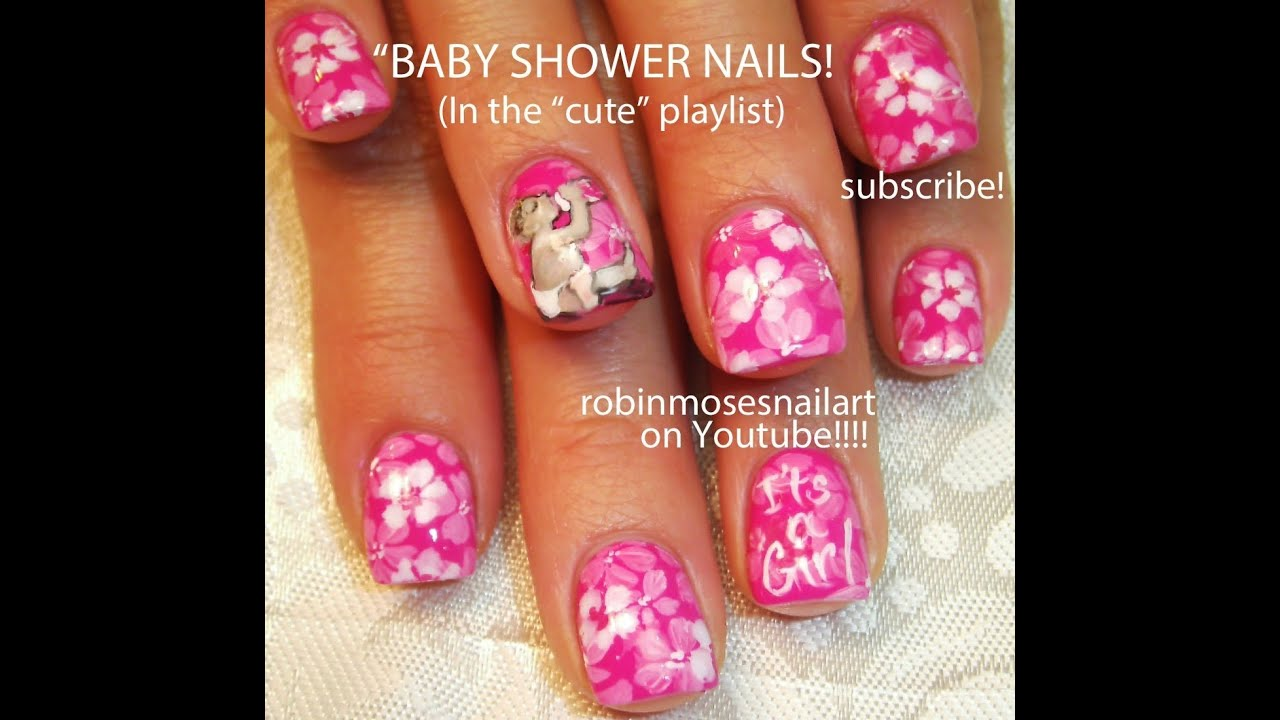 Baby Shower Nails Its A Girl Pink Nail Art Design Tutorial Youtube