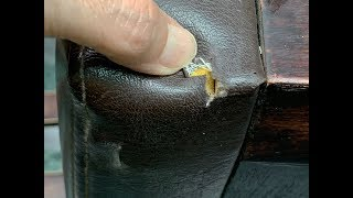 【皮革破開 │ DIY這樣修】合成皮餐椅座墊破開修補實例