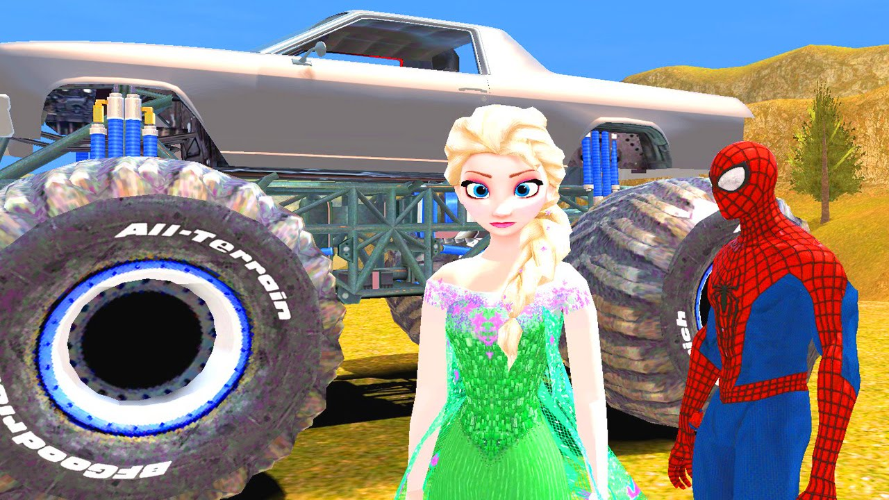 monster truck spiderman elsa la reine des neiges explorent la campagne gameplay disney. Black Bedroom Furniture Sets. Home Design Ideas