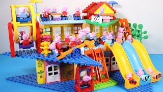 Peppa Pig Family Lego House Creations With Water Slide Toys #8