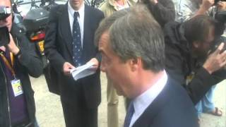 Nigel Farage meets the press after euro-funeral cortege