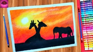 how to draw giraffe & elephant in sunset with oil pastel