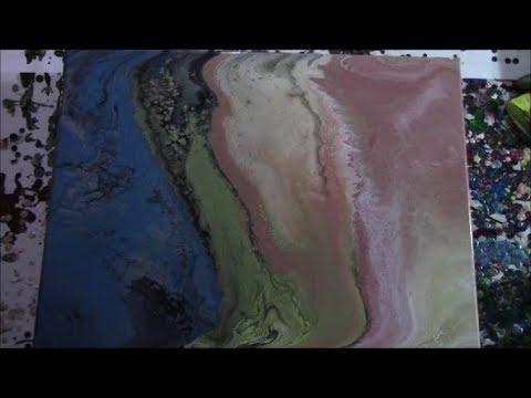 Metallic Gradience! - Acrylic Pour Painting - Flip & Drag Technique #8