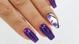 Violet flowers nails art tutorial / sunflower professional