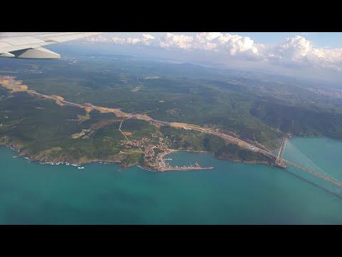 Türk hava yolları -Turkish Airlines - İstanbul Ataturk Hava Limani iniş öncesi şehir turu. Full HD