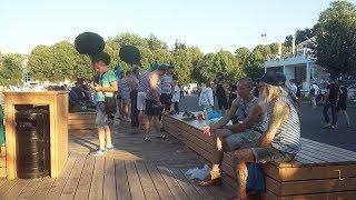 Смотреть видео День ВДВ и фонтан в парке Горького. 02.08.2018. Москва онлайн