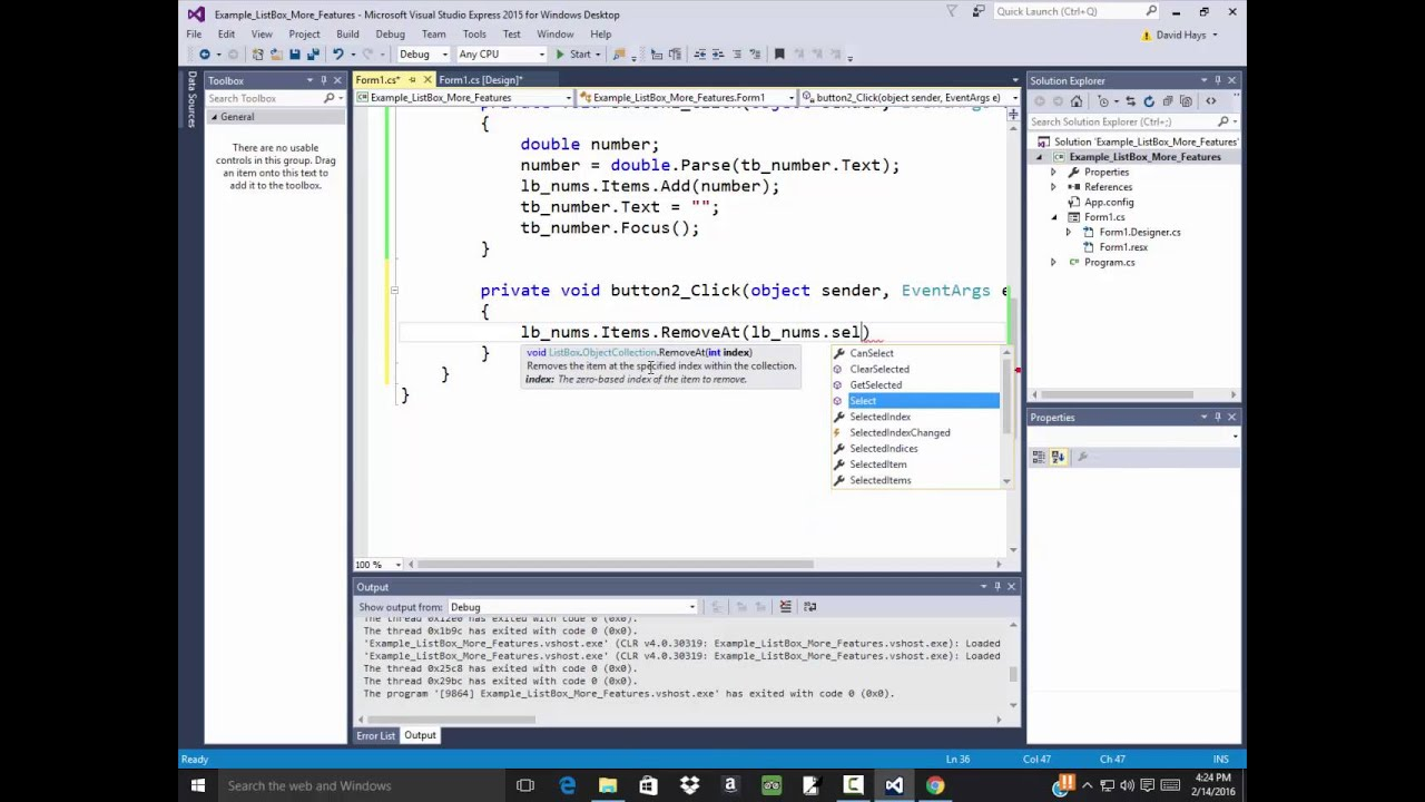 C# Programming - ListBox - Adding Items, Deleting Items, Clear List