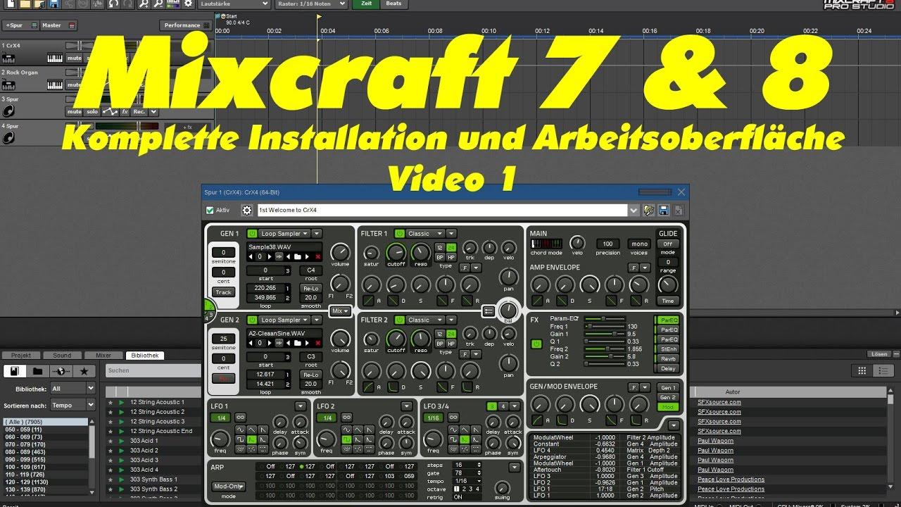 Mixcraft 7, Mixcraft 8, Komplette Installation und Übersicht  Arbeitsoberfläche Tutorial 1