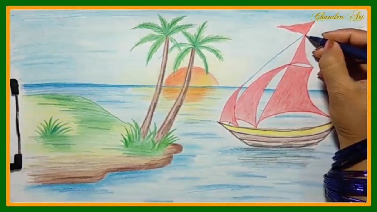 How To Draw With Colored Pencils Drawing A Landscape Scenery