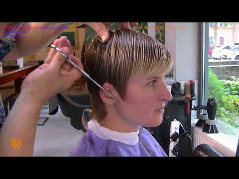 Ilove to do haircuts like this! Tutorial of Mirian short hair cut and color by TKS