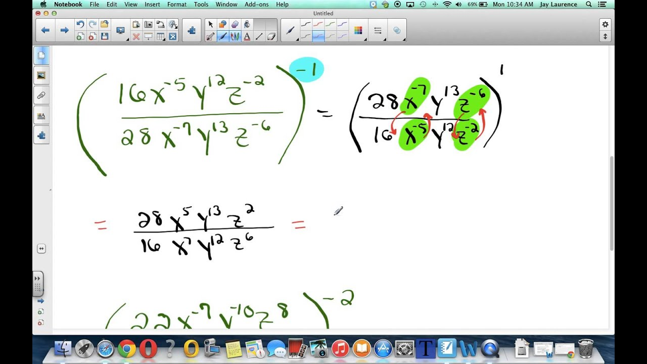 Laurence Nov 5 Algebra 278 Simplifying Negative Exponents