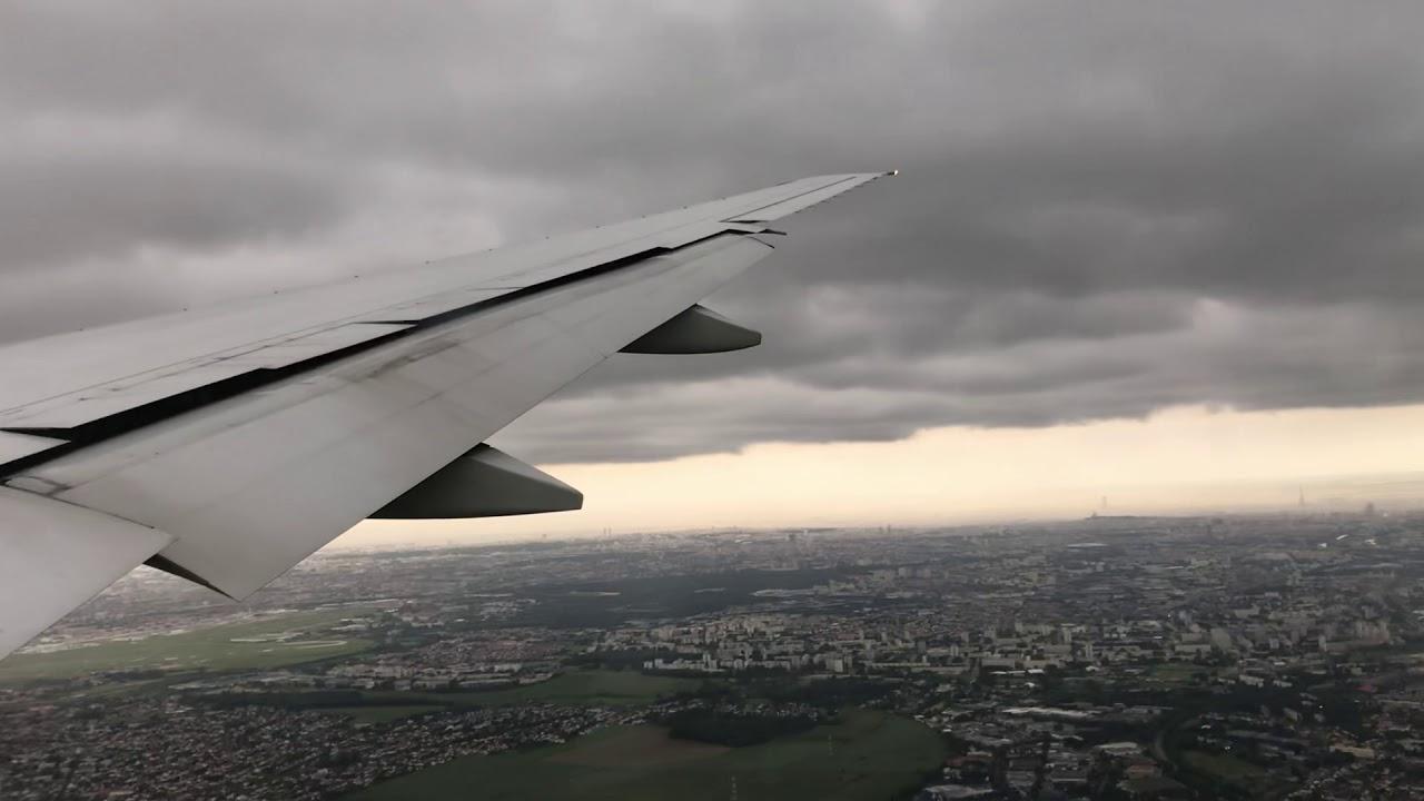 Atterrissage à Paris CDG avec nuages et turbulences