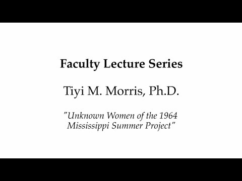 Faculty Lecture Series - Tiyi M. Morris, Ph.D. - March 6, 2014