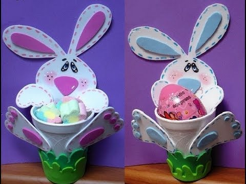 Conejito dulcero de foamy bunny fomi diy youtube for Manualidades para pascua