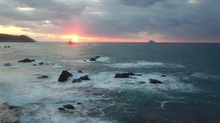 【綺麗な山陰本線の夕日】日本海に 特急スーパーおき5号より
