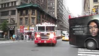 FDNY Truck 21 responding Code 3. New York City Fire Department