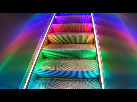 Sweden, Stockholm Central subway / train station, 2X rainbow escalator 6X SMW elevator