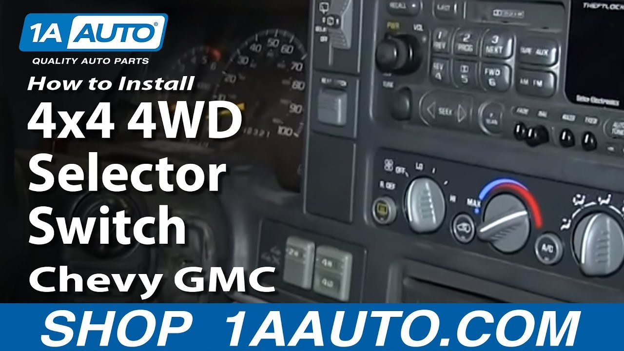 93 Dodge Ac Wiring Diagram How To Replace 4wd Selector Switch 95 00 Chevy Tahoe Youtube