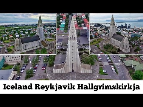 Iceland Reykjavik Hallgrimskirkja Lutheran parish church Drone footage flying Aerial Video