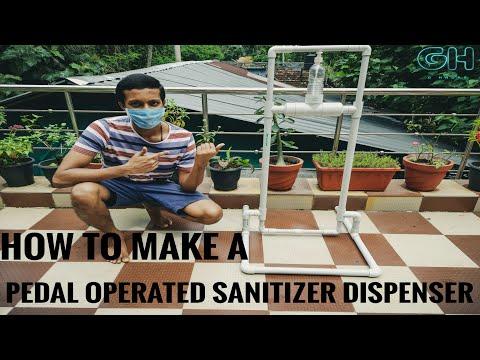 DIY Pedal Operated Sanitizer Dispenser with PVC Pipe | English Subtitles | G Hacks | Jibin Jegimon