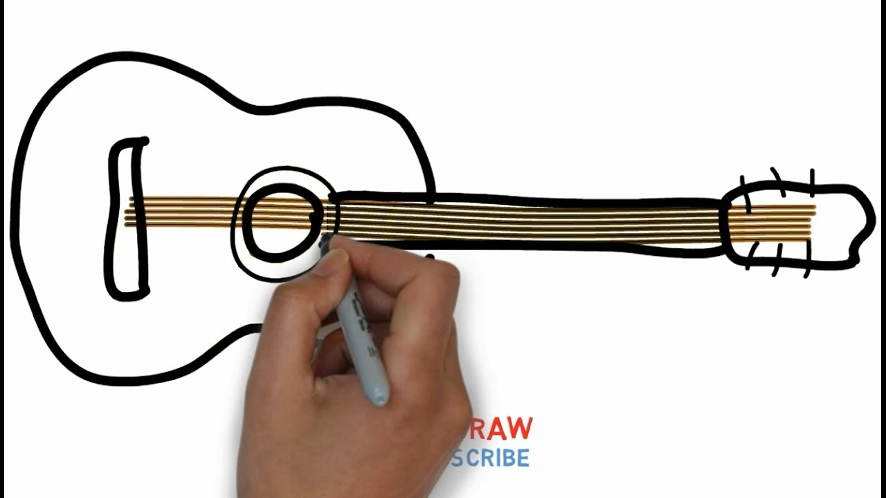 Easy Step For Kids How To Draw A Guitar Youtube