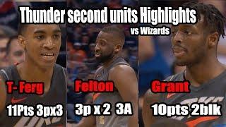썬더의 세컨 유닛의 워싱턴전 하이라이트Thunder second units Highlights vs washington wizards 2018-01-25