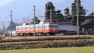 新村駅付近を走るアルピコ交通 上毛電鉄友の会スタンプラリーヘッドマークをつけてはしる元京王3000系