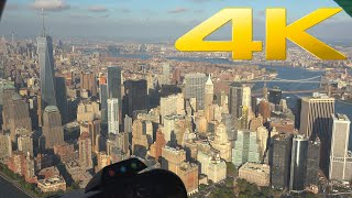 4K | New York City Manhattan helicopter tour front seat