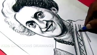 How to Draw Former Prime Minister INDIRA GANDHI Drawing