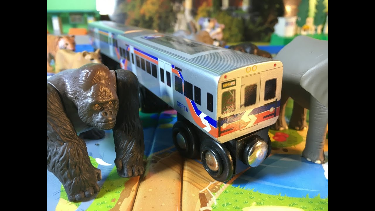 Septa Regional Rail Silverliner V 2 Car Wooden Train Visit Ania Adventure Safari Park 00505