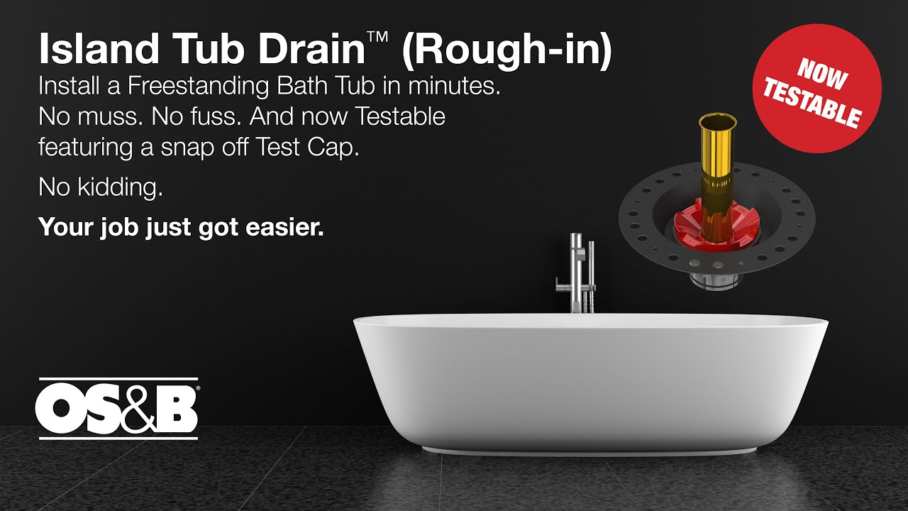 OSB Island Tub Drain Testable Roughin Installation YouTube - Drain for freestanding tub