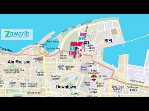 1 KM Run with Parents | Animated Map | BLOM BANK BEIRUT MARATHON 2017