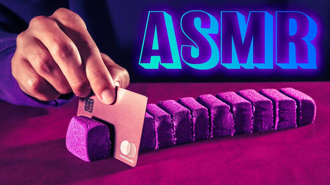 ASMR Satisfying Kinetic Sand with Metal Card