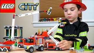 Lego City Fire Trucks and Firefighter Costume Pretend Play, Part 1