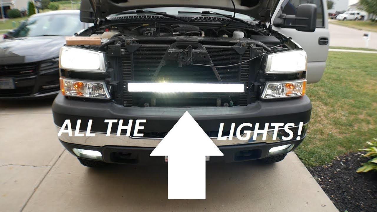 Duramax Chevy Behind Grill Light Bar Install 2003 2007