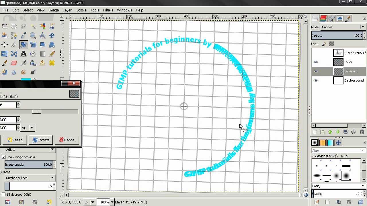 How to write text in a circle in gimp