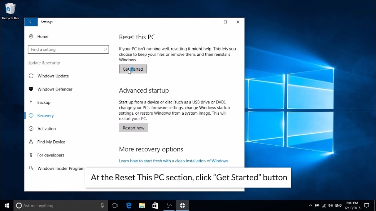 How to refresh or reset windows 10 – Updated 2017