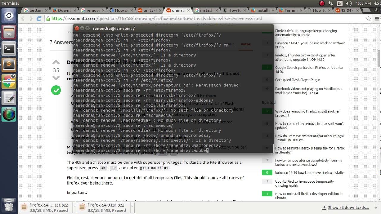 Firefox uninstall in ubuntu 14 04