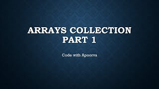 Top Interview Questions on Arrays