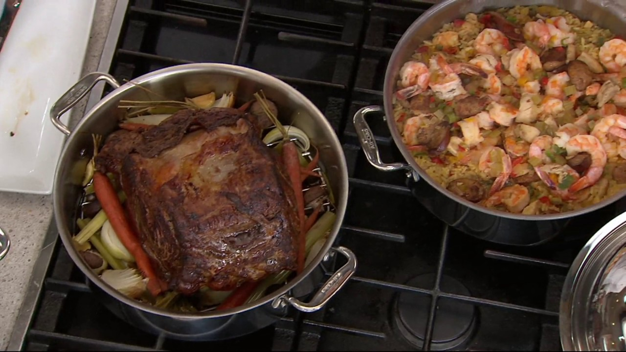 All Clad Tri Ply 6 Qt Stainless Steel Everyday Pan Braiser Acc On Qvc